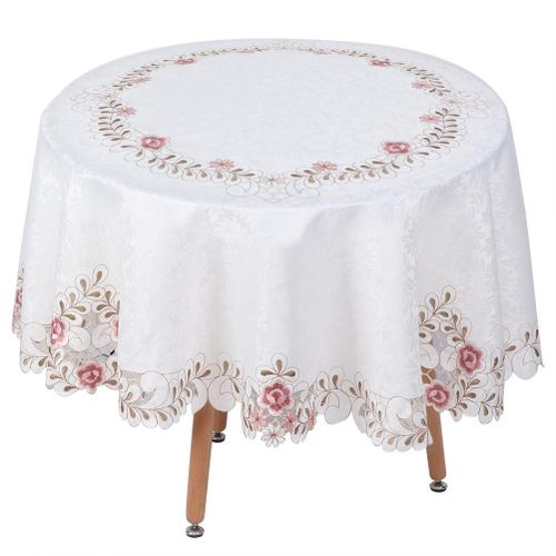 175 X 175cm Elegant Embroidered Tablecloth Household Dining Kitchen Table Cover Decoration