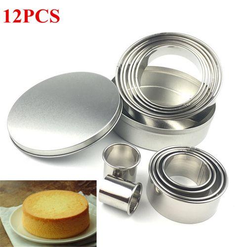 12PCS/Set Cookie Biscuit Cutter Circle Pastry Baking Mousse Cake Metal Ring Mold