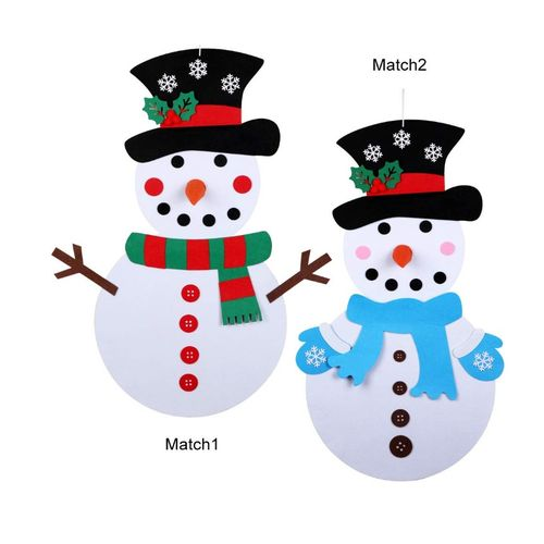 Kids Gifts DIY Felt Snowman Detachable Xmas Ornament Wall Hanging Games For Christmas Decorations