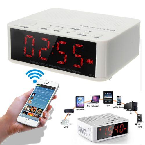 Digital LED Display Alarm Clock With Bluetooth Speaker FM Radio Mp3 Player TF