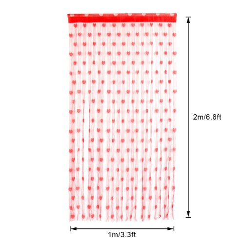 Romantic Heart-shaped Screen Curtains Polyester Door Window Curtain Drape For Bedroom Living Room Decoration