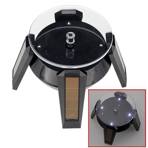 LED Solar 360 Rotating Display Stand Turn Table Plate For Jewelry Watch Phone