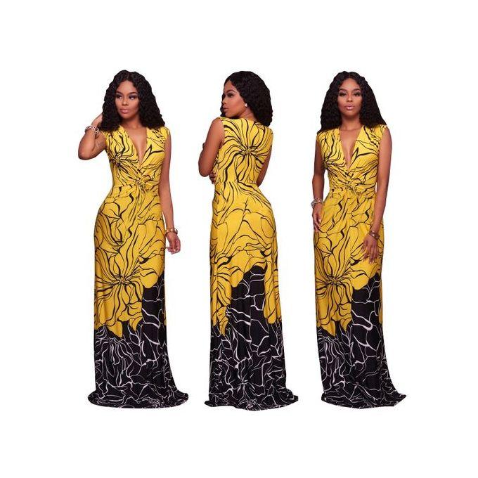 Fashion Women's Dress Floral Print Short Sleeve Dress Gown--Yellow   Jumia  Nigeria