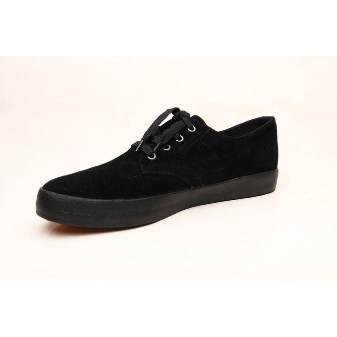 Black Suede Slip On Sneaker - Black