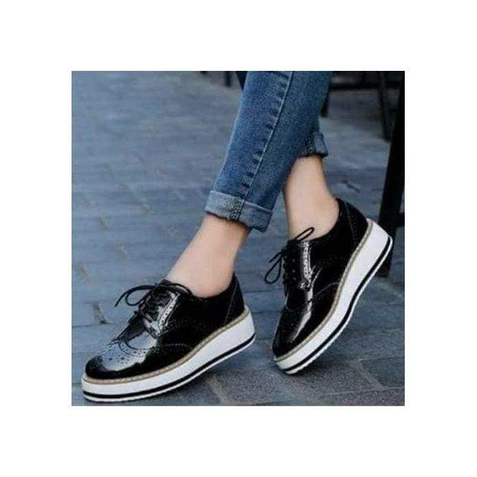 Fashion Ladies Patent Leather Sneakers