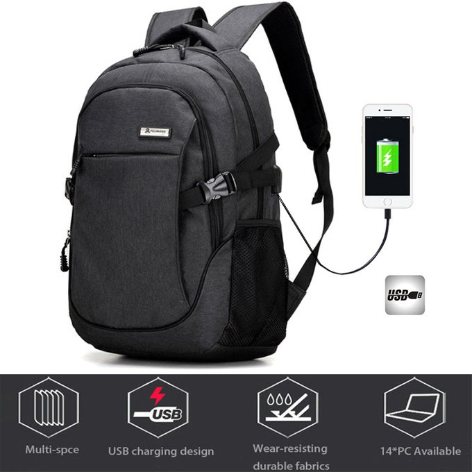 Fashion Anti-theft Security Laptop Backpack + External USB