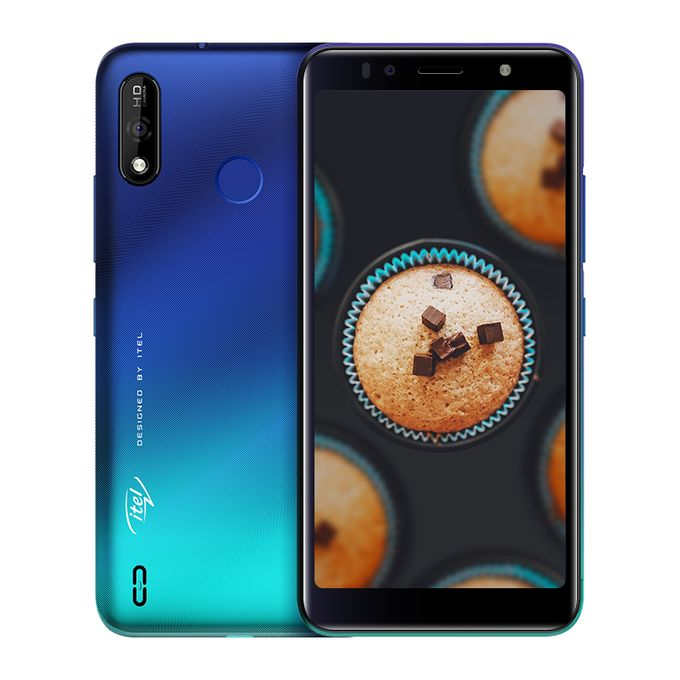"Itel A36 5.5"" HD+ Screen, 1GB RAM + 16GB ROM, Android 9 Pie, 3020mAh  Battery, 5MP + 5MP Camera, Fingerprint + Face ID - Blue 