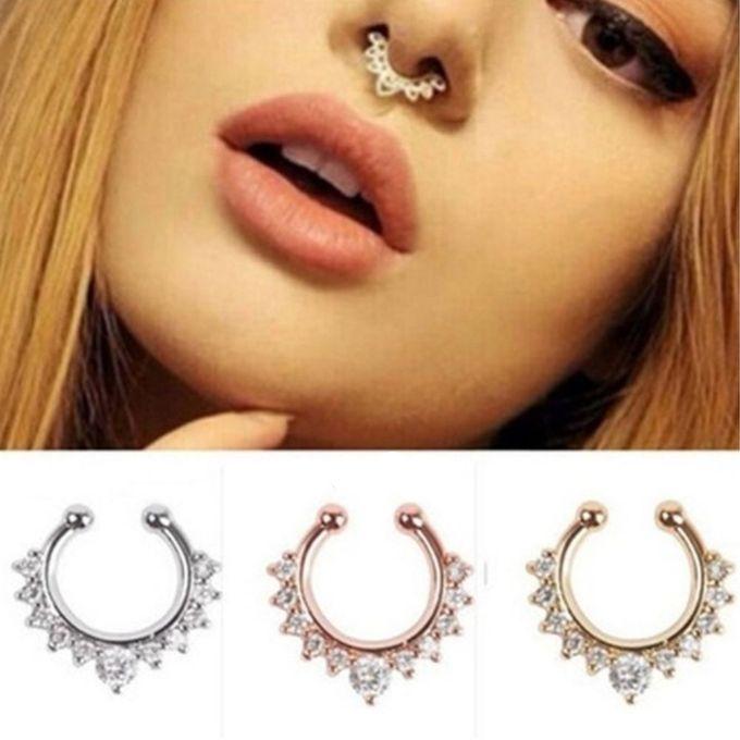 Fashion 3pcs Set Women Nose Rings Crystal Fake Nose Ring Septum