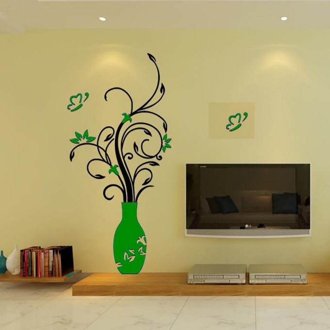 3D Flower Vase Wall Sticker DIY Acrylic Art Mural Decal Removable Home Decor US