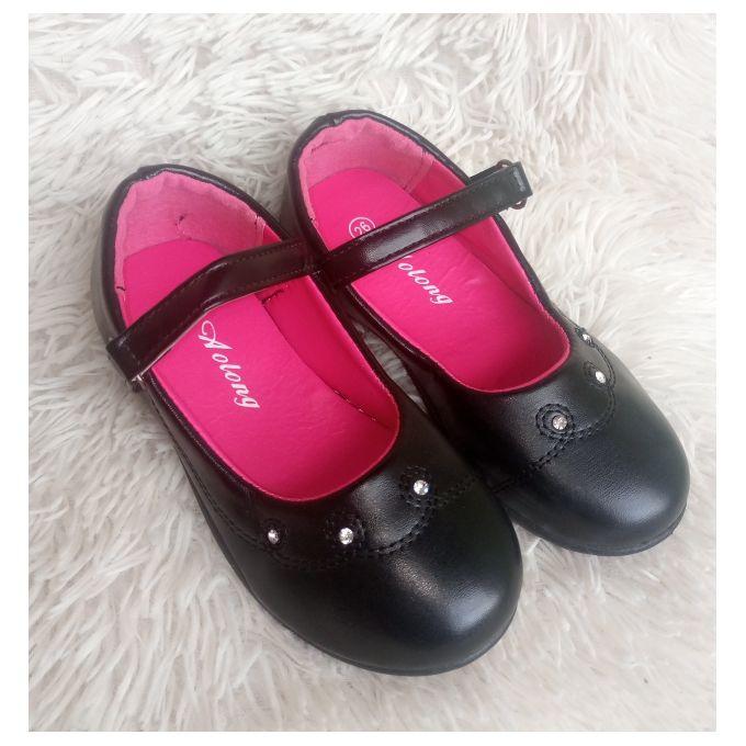 Girls Leather Dress/School Shoe -black
