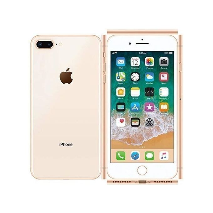 IPhone 8 Plus 5 5-Inch HD (3GB,64GB ROM) IOS 11, 12MP + 7MP 4G Smartphone  Gold, And Free Pouch And Tempered Glass