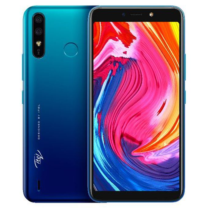 "Itel A56 5.99"" IPS Screen, Android 9 Pie, 16GB ROM + 1GB RAM, 8MP + 5MP  Camera, 4000mAh Battery, Fingerprint & Face ID - Blue 