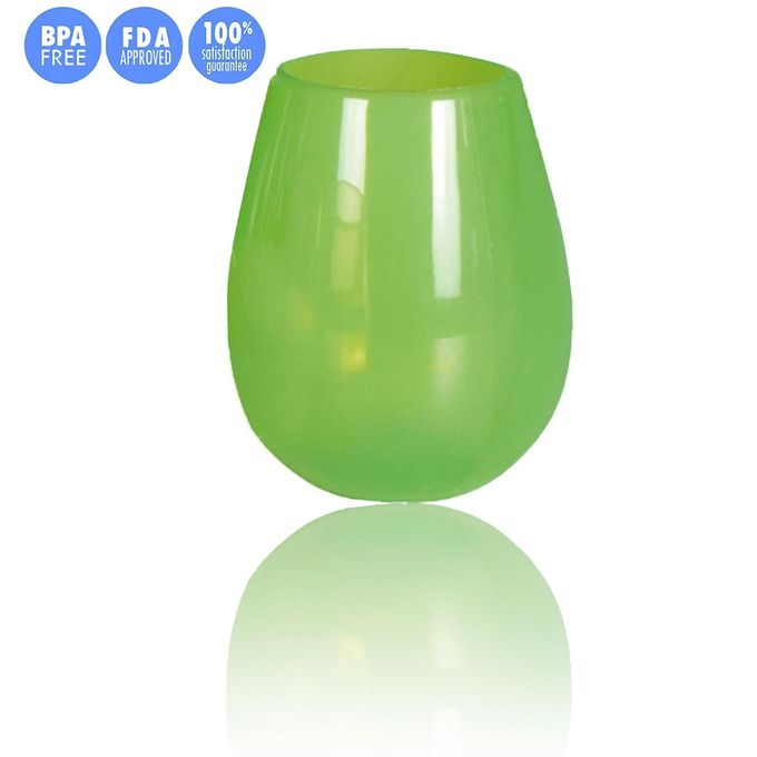 Reusable Silicone Wine Cup Collapsible Beer Whiskey Glass Shatterproof Green