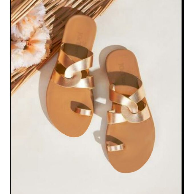 JGeTters Ladies Flat Metallic Slippers