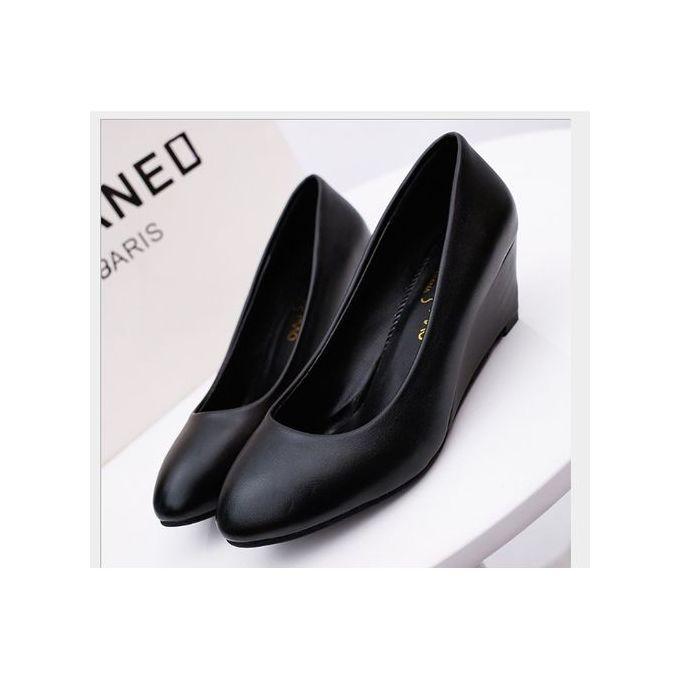Trendy Ladies Wedge Women Shoes-Black
