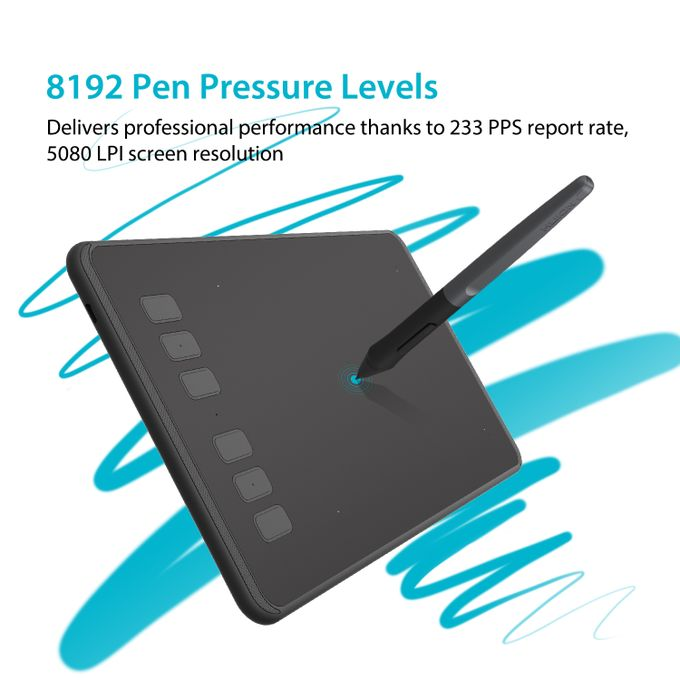 H640P Slim Compact 8192/5080 Drawing Graphics Tablet - Black