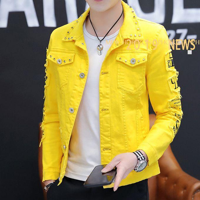 yellow denim shirt