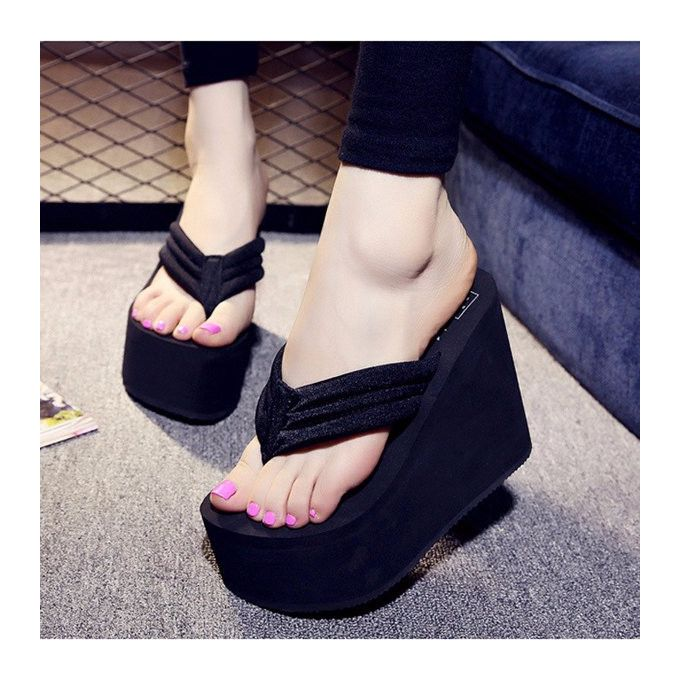 Fashion Women's High Heel Slippers Flip Flops Platform Summer ...