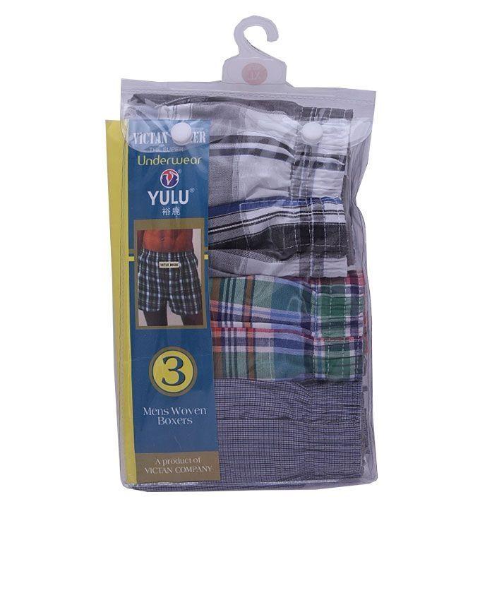 VICTAN Yulu 3-In-1 Pack Boxer Shorts - Multicolor   Buy