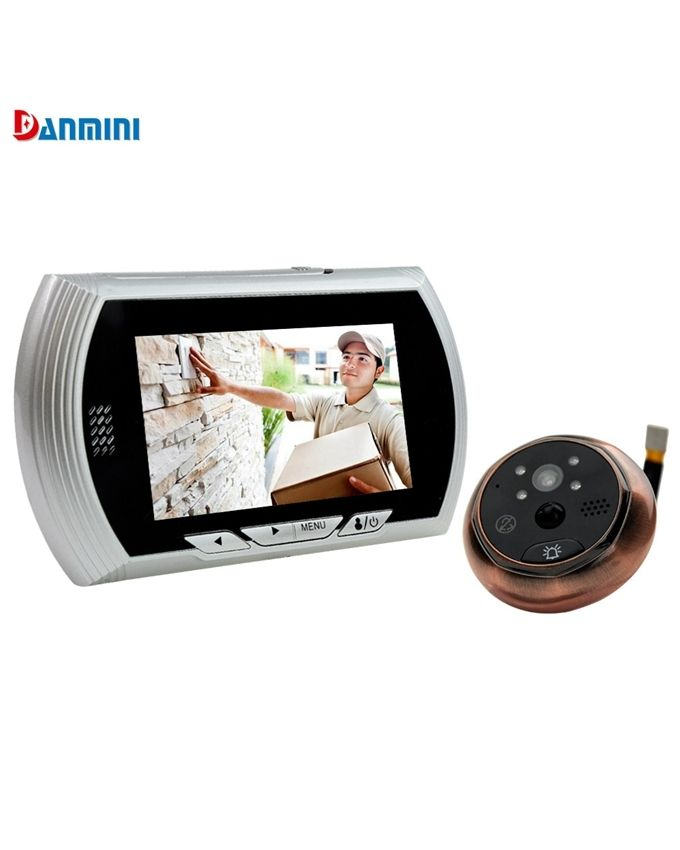 Danmini 4 3 inch smart digital door viewer peephole camera for Door viewer camera