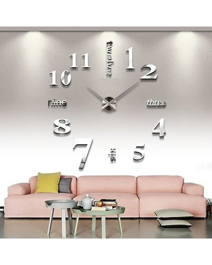 Diy large adhesive mirror acrylic 3d sticker wall clock for Home decorations on jumia