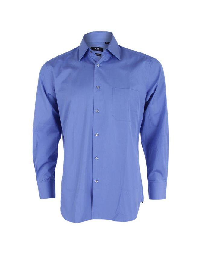 Hugo boss harrison long sleeve plain formal shirt blue for Hugo boss formal shirts
