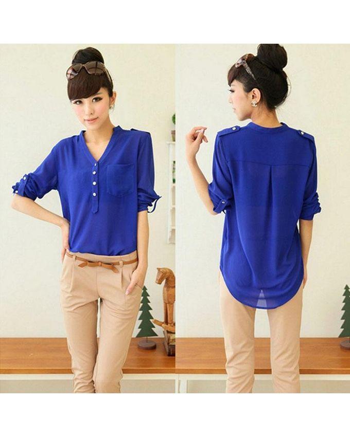 Ladies Blue Long Sleeve Blouse 8