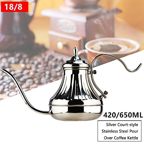 Retro Pour Over Coffee Kettle Hand Drip Pot Gooseneck Silver
