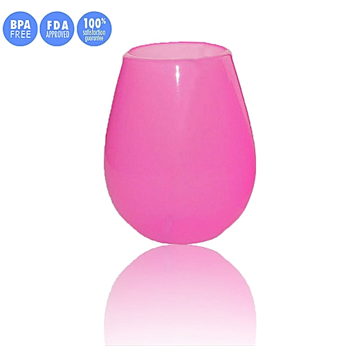 NEW Unbreakable Multi-Use Silicone Wine Glasses Stemless 9 & 12 Oz For Camping Hiking Daily Use (Red, L)