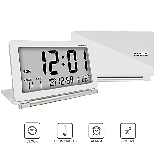 Loskii DC-11 Electronic Travel Alarm Clock Folding Desk Clock With Temperature Date Time Calendar