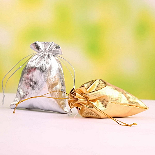 "100pcs Silver/Gold Drawstring Organza Bags Pouches Christmas Wedding Party Favour Gifts Candy Bags Jewlery Pouch Package Bags, 2.8""x3.5""/ 7x9cm"