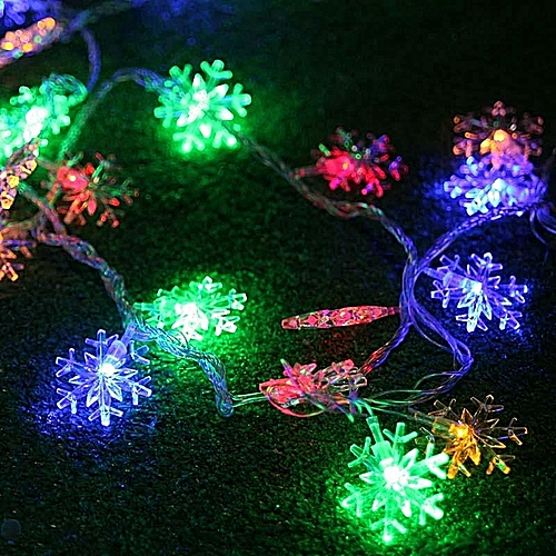 Christmas Day Decorative Lights 40LED Snowflake Style String Light Outdoor Light New Year's Eve Arrangement Flashing Lights Colorful EU