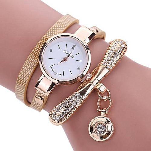 Women Leather Rhinestone Analog Quartz Wrist Watches