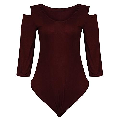 Cilia Cold Shoulder Long Sleeve Bodysuit - Maroon