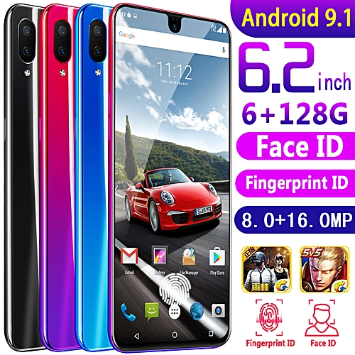 X23 Cell Phone 6.2 Inch Android 9.1 6G+128GB Fingerprint Face ID Smart Phone