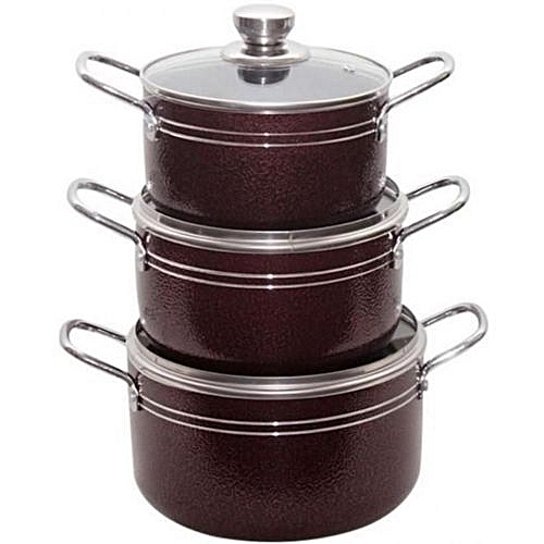 3pcs Non-Stick Pots - Red