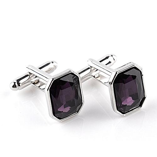Diamond Colorful Glass Cufflinks Cuff Links Women's Men's Bussiness Dark Purple