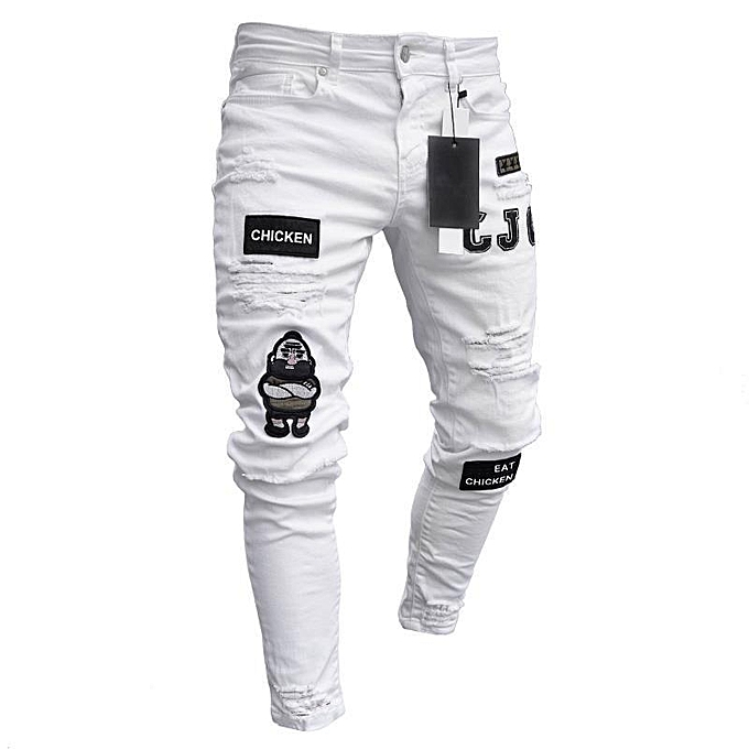 b5e88ff8828 Fashion Men Denim Jeans Ripped Pants Cotton Slim Strechable,White ...