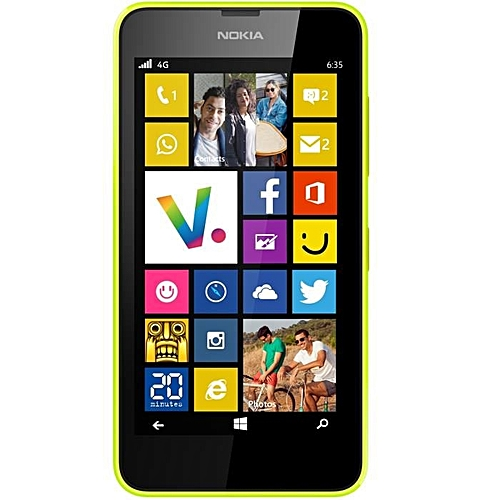 "(yellow)Nokia Lumia 635 Windows Phone 4.5"" Quad Core 1.2GHz 8G ROM 5.0MP WIFI GPS 4G LTE Smartphone"