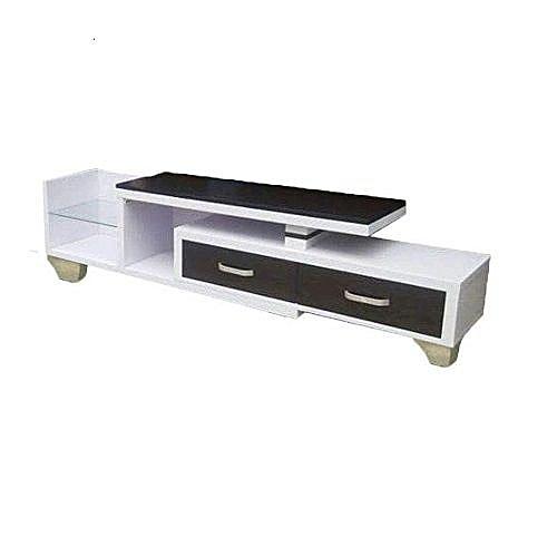 TV Stand Console, Media Shelve - White / Black