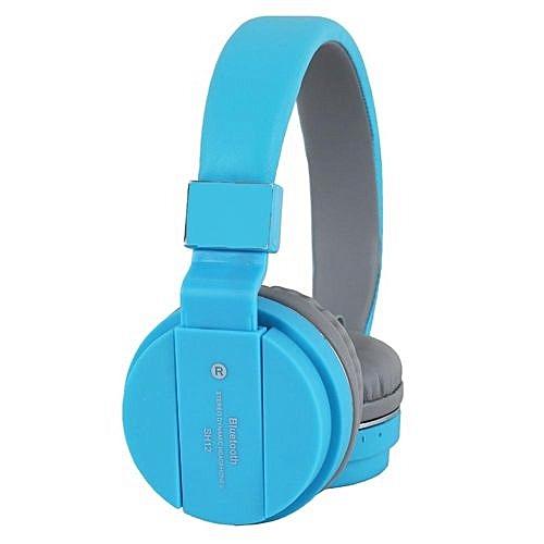 28b764b2ba0 Generic SH12 Wireless Bluetooth Headset Stereo Headphone With Mic- Blue