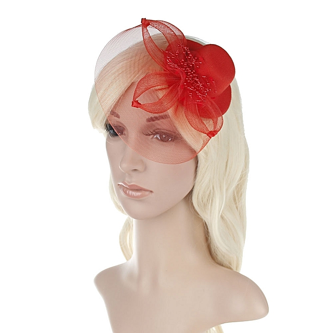 8509899ac1248 Zetenis Fashion Women Fascinator Net Bow Tie Mesh Hat Cocktail Party  Headdress Wedding -Red