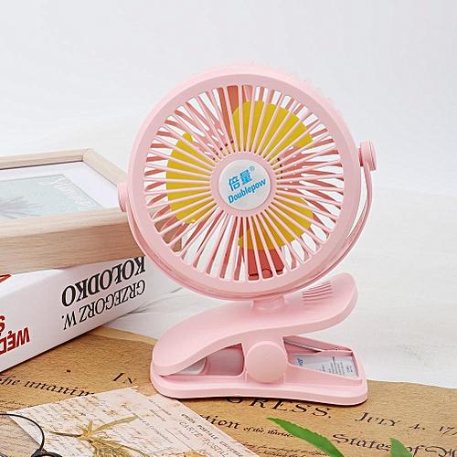 360° Rotation Mini USB Fan Clip On Desk With Nightlight Office