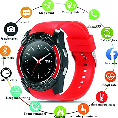 Waterproof Smart Watch With Camera & Sim Slot----RED