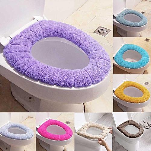Eleganya 1PC Home Practical Simple Pure Color Soft Plush Toilet Mat