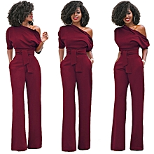 ae1b88346544 Comfortable Women S One Shoulder Solid Jumpsuits Wide Leg Long Romper Pants  With Belt