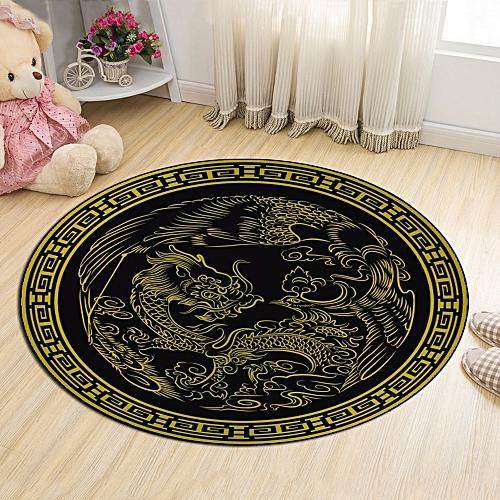 Cloakroom Floor Mat Dragon Pattern Antiskid Round Door Mat