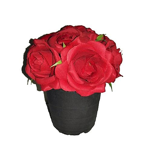 Lille Artificial Rose In Black Plastic Pot 14cm - Red