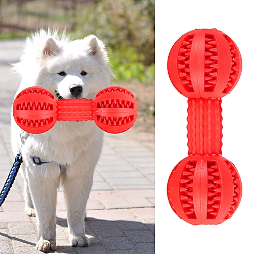 Pet Dog Chew Toys Rubber Dumbbell Bone For Bite Puppy Molar Clean Teeth Chew Toy-Red