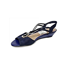 a9ac249aced Ladies Low Wedge Shoe- Blue